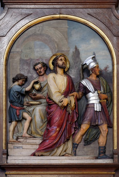 1st Stations of the Cross, Jesus is condemned to death, Basilica of the Sacred Heart of Jesus in Zagreb, Croatia
