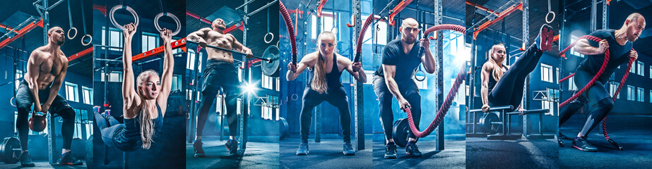 Collage about man with battle rope and woman in the fitness gym. The gym, sport, rope, training, athlete, workout, exercises concept