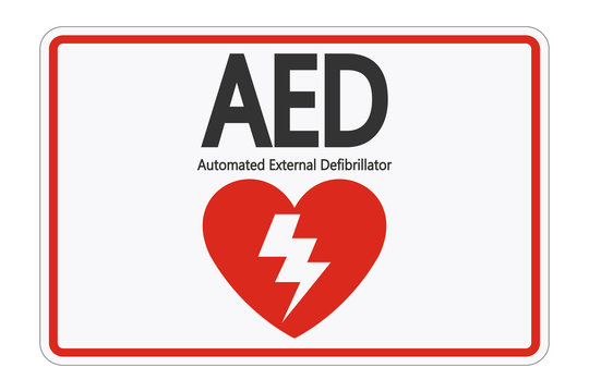 Symbol AED Sign label on white background