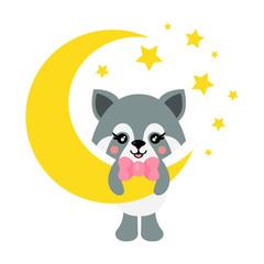 cartoon cute raccoon with tie on the moon