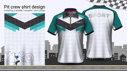 Polo t-shirt with zipper, Racing uniforms mockup template for Active wear and Sports clothing, such as, Racing apparel, Karting, Pit crew, Mechanic overalls, Everything is editable and Color change.
