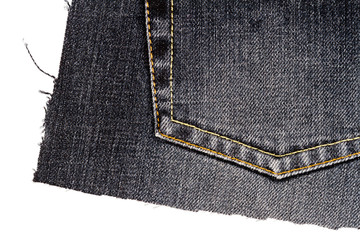 Piece of black jeans fabric