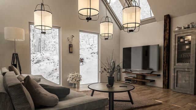 Gemütliches helles Wohnzimmer mit tollen Deckenleuchten