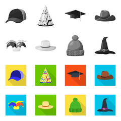 Isolated object of clothing and cap logo. Collection of clothing and beret stock vector illustration.