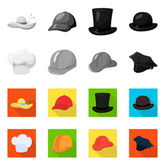 Vector design of clothing and cap sign. Set of clothing and beret stock symbol for web.