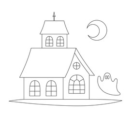 Haunted house with the ghost. Line art for coloring book. Vector coloring page.