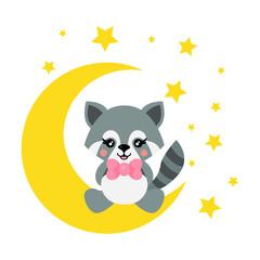 cartoon cute raccoon with tie sits on the moon