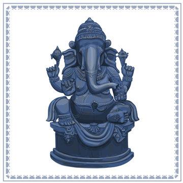 Ganesha Statue hand drawn illustration