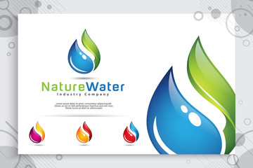 nature water drop vector logo design with modern style color concept, symbol illustration fresh leaf and water for technology and energy industry company.