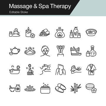 Massage and Spa Therapy icons. Modern line design. For presentation, graphic design, mobile application, web design, infographics, UI. Editable Stroke.