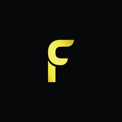 Outstanding professional elegant trendy awesome artistic black and gold color F FC CF initial based Alphabet icon logo.