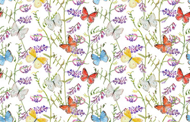 vintage seamless texture with meadow flowers and flying butterflies. watercolor painting