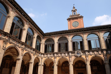 External atrium of Archiginnasio in Bologna, Italy