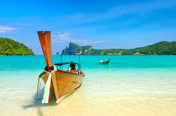Longtail boats on the Loh Dalum beach, Phi-Phi Don island, Thail