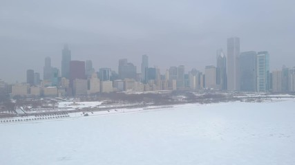 Fototapete - Chicago downtown skyline buildings snow winter aerial