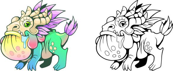 cute little cartoon toad dragon funny illustration