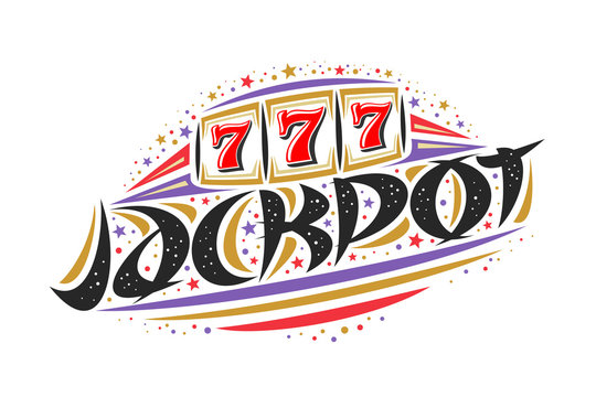 Vector logo for Jackpot, creative colorful illustration of reel of slot machine, original decorative brush lettering for word jackpot, simplistic abstract gambling banner with lines and dots on white.