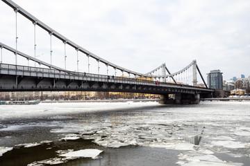 view of Krymsky Bridge over Moskva River in winter