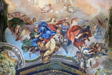 Assumption of the Virgin Mary, fresco painting in San Petronio Basilica in Bologna, Italy
