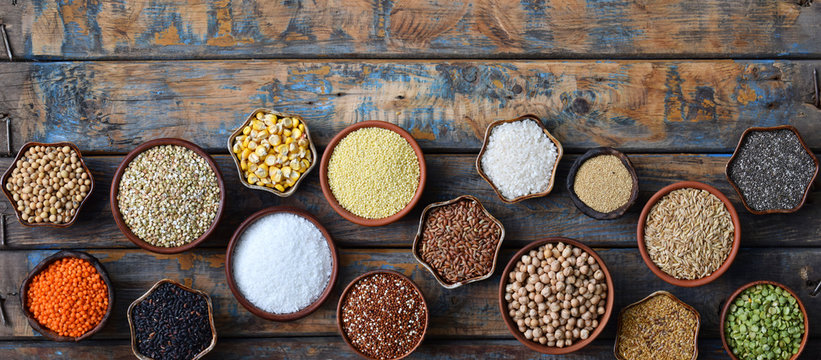 Cereals, grains, beans and seeds. Gluten-free concept. Healthy food. Top view. Copy space.