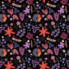 Cute vector floral seamless pattern with flowers and leaves on black background