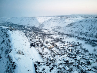 Aerial shot of Old Orhei at daylight in winter season
