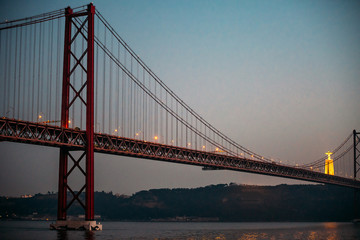 25 april bridge landscape and Christ the King in Lisbon, Portugal