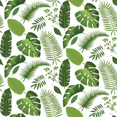 Seamless tropical leaves pattern design
