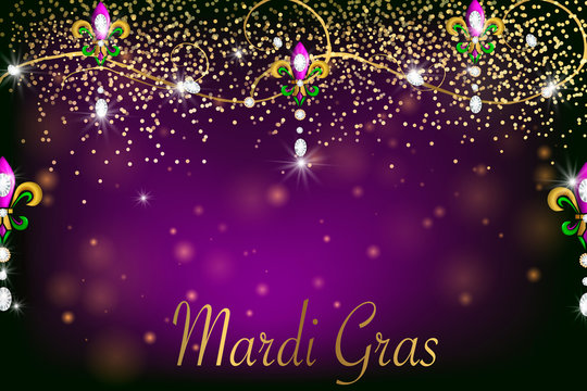 Mardi Gras holiday background  with diamonds, lights