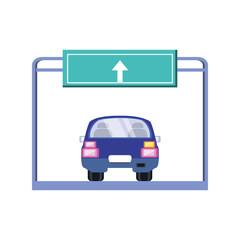 car sedan with traffic signal in the road