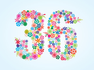 Vector Colorful Floral 36 Number Design isolated on white background. Floral Number Thirty Six Vector Typeface.