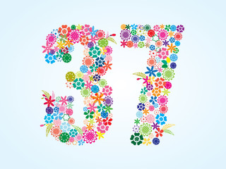 Vector Colorful Floral 37 Number Design isolated on white background. Floral Number Thirty Seven Vector Typeface.