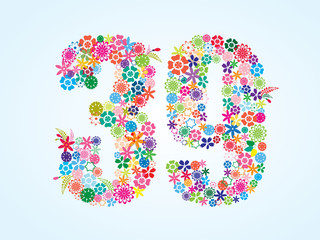 Vector Colorful Floral 39 Number Design isolated on white background. Floral Number Thirty Nine Vector Typeface.