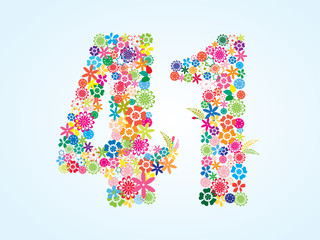 Vector Colorful Floral 41 Number Design isolated on white background. Floral Number Forty One Vector Typeface.
