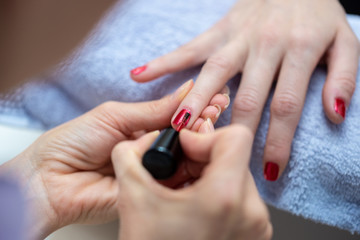 Closeup of a professional manicure