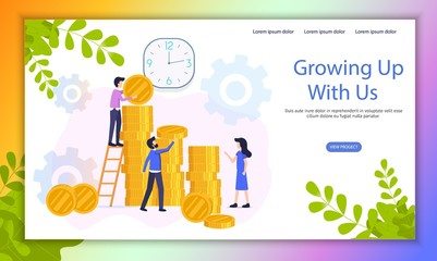 Growing Investment Project Flat Vector Website