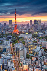 Tokyo. Aerial cityscape image of Tokyo, Japan during sunset.