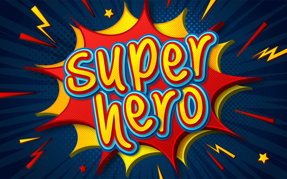 Cartoon comic book with speech bubble Superhero. Poster in comics and pop art style with multilayer funny letters, halftone and sound effects on dark blue background. Colorful cool banner