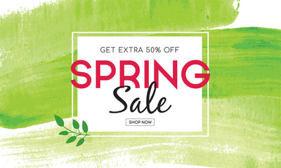 Spring sale Banner with green watercolor brush stroke background. Spring sale Vector illustration.