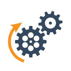 black rotating cogwheels icon. Flat design vector element.