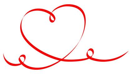 Einzelnes Rotes Herz Kalligrafie