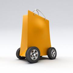 Orange shopping bag on wheels