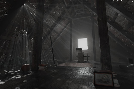 3d rendering of darken empty attic with aged stuff and light rays through holes