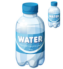 Bottle of water. Cartoon vector icon isolated on white background. Series of food and drink and ingredients for cooking.