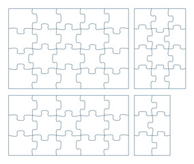 Sets of puzzle pieces vector illustration. 2 x 3, 3 x 4, 3 x 5, 4 x 5 jigsaw game outline pieces picture