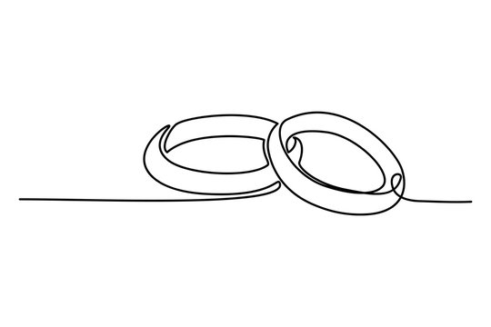 Continuous line drawing. Wedding rings. Template for love cards and invitations. Black isolated on white background. Hand drawn illustration.