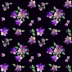 Watercolor, purple flowers on a white background. Handwork. Floral pattern for wallpaper or fabric, packing paper, cards. Flower rose. Botanical tile