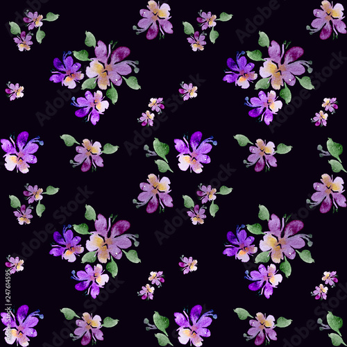 Watercolor Purple Flowers On A White Background Handwork Floral