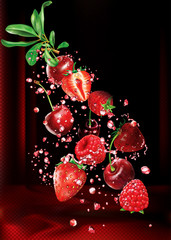 Wall Mural - Cherry raspberry and strawberry into splashes of juice