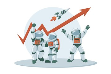 Advance business investment concept banner with astronauts characters